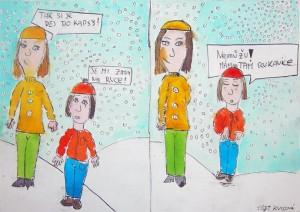 Zima na ruce. Kreslený vtip od Ivany Kvisové.